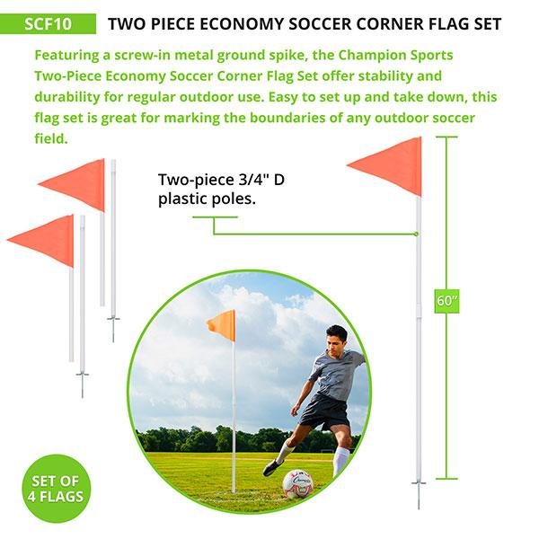 Two Piece Economy Soccer Corner Flag Set