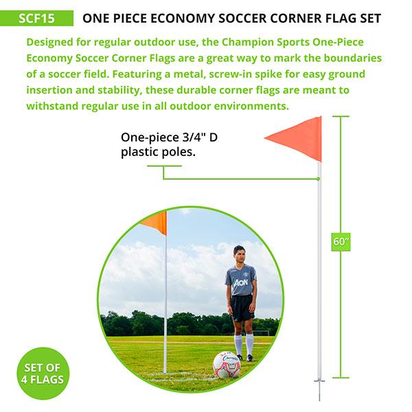 One Piece Economy Soccer Corner Flag Set